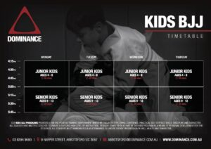 New Kids Timetable for Dominance MMA HQ